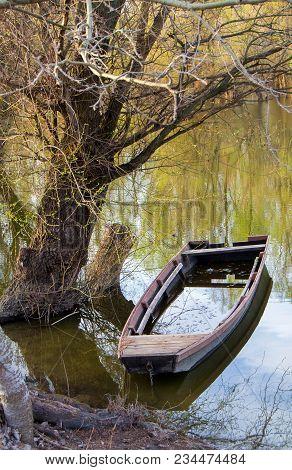 Sunken Boat On The Danube