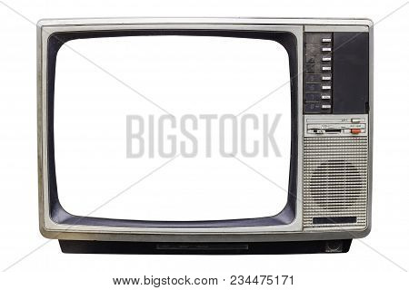 Classic Vintage Retro Style Old  Television With Cut Out Screen,.old  Television On  Isolated Backgr