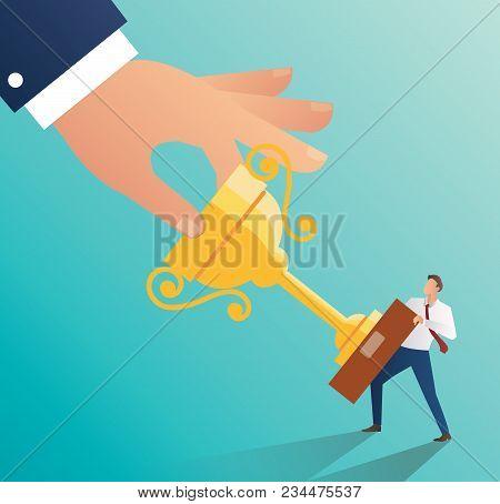 Big Hand Holding Trophy With Businessman. Snatch Trophy Concept Vector Illustration