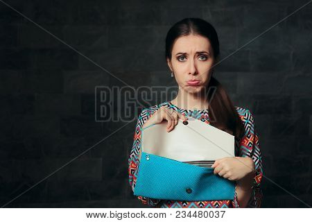 Unhappy Fancy Woman Checking Inside Empty Bag