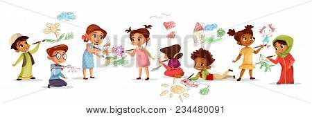 Children Of Different Nationality Drawing Pictures With Chalk Pencils Vector Illustration Of Cartoon