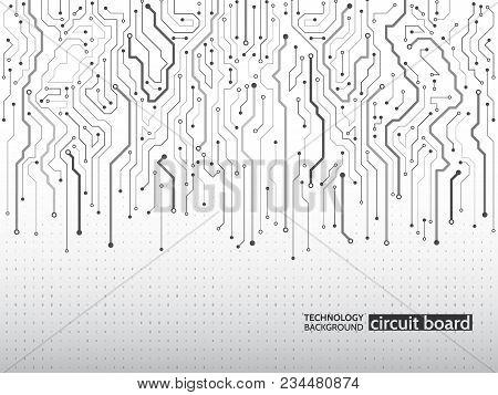 High-tech Technology Background Texture. Circuit Board Vector Illustration. Electronic Motherboard C