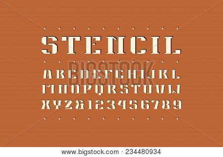 Decorative Square Stencil-plate Serif Font. Bold Face. Letters And Numbers For Logo And Emblem Desig