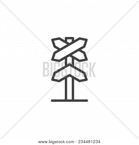 Railway Roadsign Outline Icon. Linear Style Sign For Mobile Concept And Web Design. Railroad Crossin