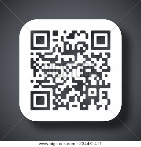 Vector Qr Code Icon On Dark Gray Background With Shadow