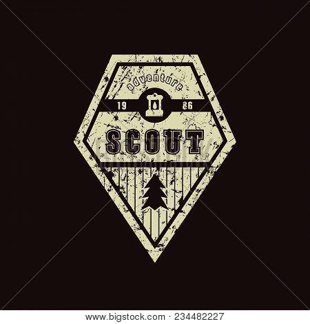Emblem Of Scout Camp. Graphic Design For T-shirt. Color Print On Black Background