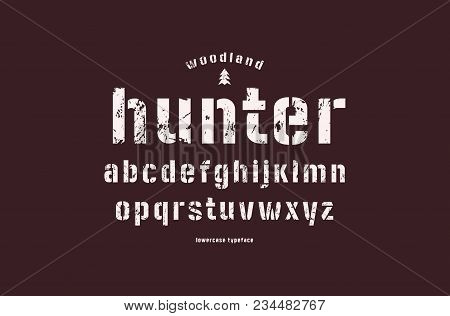 Original Lowercase Stencil-plate Sans Serif Font. Bold Face. Letters With Rough Texture For Logo And