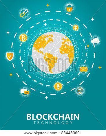 Blockchain Digital Tech Concept Vector Illustration. Cryptocurrency And Blockchain Network Technolog
