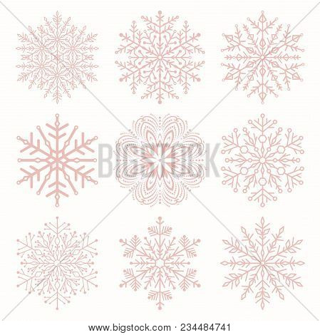 Set Of Vector Snowflakes. Pink Winter Ornaments. Snowflakes Collection. Snowflakes For Backgrounds A