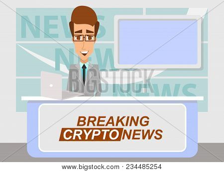 Breaking Cryptonews Concept Vector Illustration. News Anchor Broadcasting The The Latest Important C