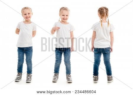 girl in t-shirt standing isolated on white background