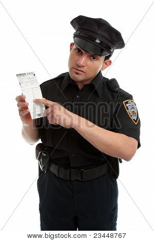 Police Officer Or Traffic Warden With Infringement Ticket