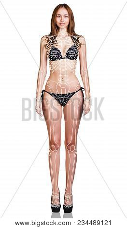 Young Woman With Paint Skeleton On Her Body. Isolated On White.