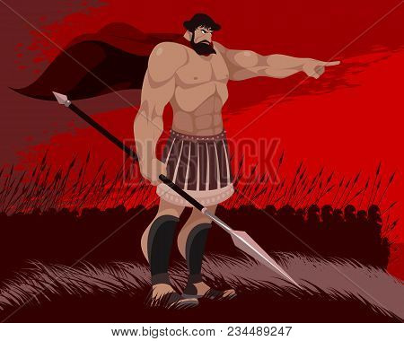 Vector Illustration Of A Spartan And His Warriors