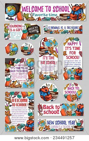 Back To School Banners, Tags Or Badges Sketch Design Of School Bag Or Lesson Stationery. Vector Set