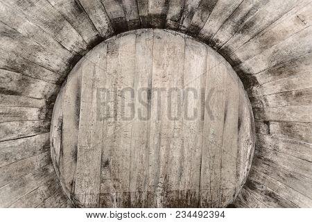 Inside An Oak Barrel, An Old Wine Cellar With Oak Barrels,barrels For Wine In Old Cellars