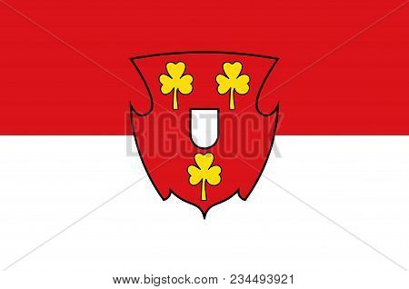 Flag Of Cleves Is A Town In The Lower Rhine Region Of Northwestern Germany. Vector Illustration