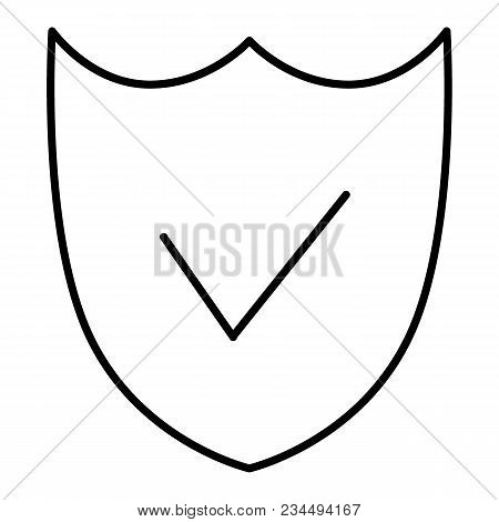 Security Shield Line Icon. Shield Vector Icon Isolated On White. Flat Thin Outline Style. Eps 10.