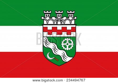 Flag Of Hilden Is A City In North Rhine-westphalia Of Germany. Vector Illustration