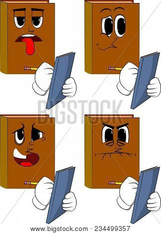 Books Writing On A Books Cover. Cartoon Book Collection With Sad, Bored And Angry Faces. Expressions