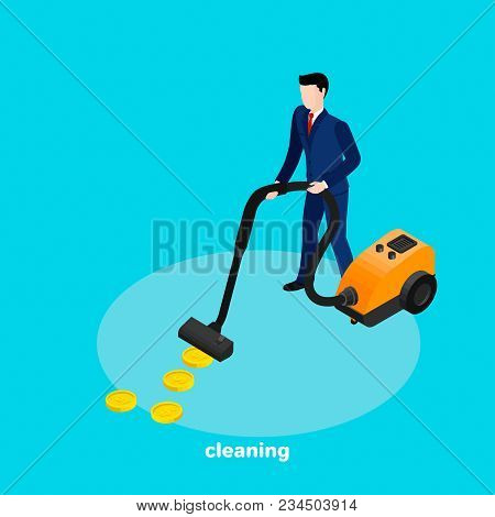 Man In A Business Suit With A Vacuum Cleaner, Isometric Image