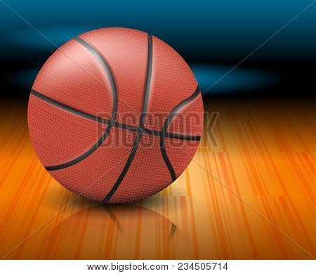 A Basketball Ball On A Court. Realistic Vector Illustration