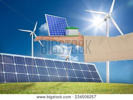 solar panel on hand in solar panels field
