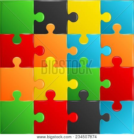 Colorful Plastic Pieces Puzzle Game Complete Background