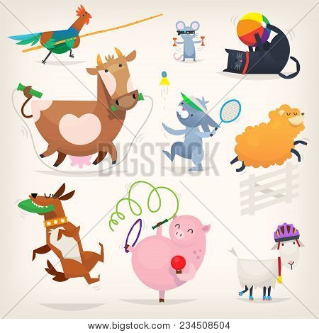 Farm Animals Do Morning Exercises And Play Sports. Vector Illustrations With Healthy Animal Characte