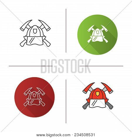 Firefighters Maltese Cross Icon. Flat Design, Linear And Color Styles. Protection Helmet And Crossed