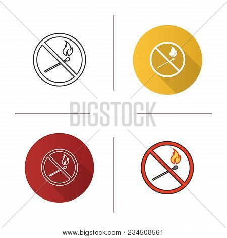 Forbidden Sign With Burning Matchstick Icon. Flat Design, Linear And Color Styles. No Naked Lights P
