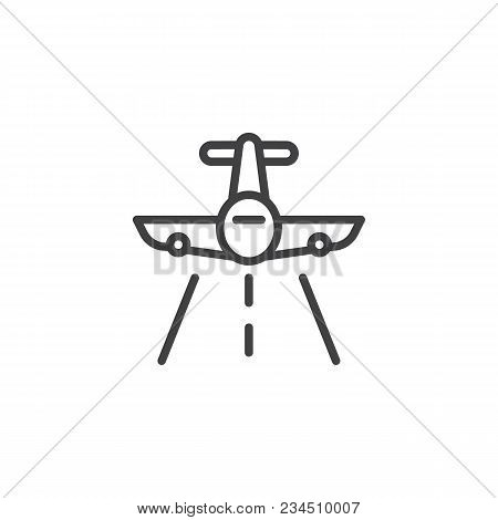 Flying Plane Outline Icon. Linear Style Sign For Mobile Concept And Web Design. Aircraft And Landing