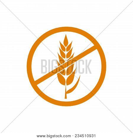 Gluten Free Vector Orange Icon, Wheat Free Products Packaging Label Isolated On White Background.