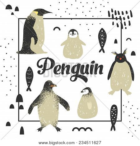 Baby Shower Design With Cute Penguins. Creative Hand Drawn Childish Penguin Background For Decoratio