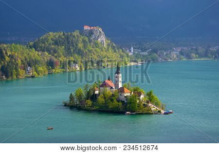 Magnificent View Of Bled Lake. Azure Water, Bled Island With Pilgrimage Church Of The Assumption Of