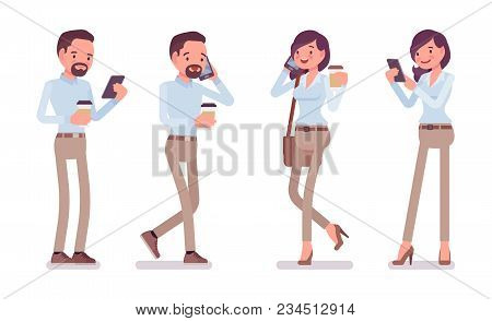 Smart Middle Aged Man, Woman In Buttoned Up Shirt, Camel Skinny Chino Trousers, Standing With Smartp