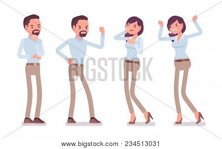 Smart Middle Aged Man, Young Woman In Buttoned Up Shirt, Camel Skinny Chino Trousers, Negative Emoti