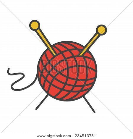 Wool Clew With Knitting Needles Color Icon. Yarn Ball. Isolated Vector Illustration