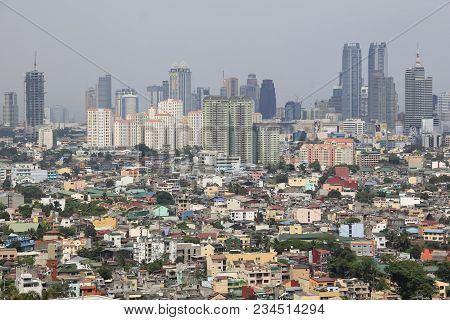 Manila - April 2 2011: View Over Ortigas From Makati Towards Antipolo. Manila Is The Overcrowded Cap