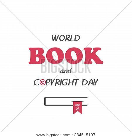 Hand Drawn Elegant Modern Lettering With Book Icon For World Book And Copyright Day Isolated On Whit