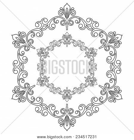 Oriental Pattern With Arabesques And Floral Elements. Traditional Classic Black And White Round Orna