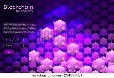 Cryptocurrency And Blockchain Isometric Illustration. Vector Abstract Composition Of Crypto Start Up