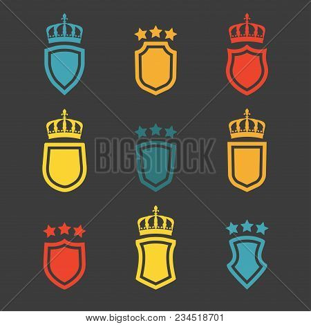 Shields Set. Collection Of Different Shield Shapes With Crown And Stars. Heraldic Royal Design In Fl