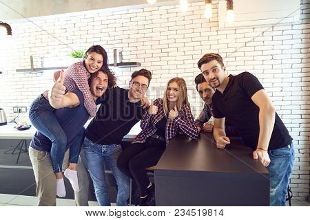 Meeting Friends In Their Spare Time In The Room. Students In Dorm College.
