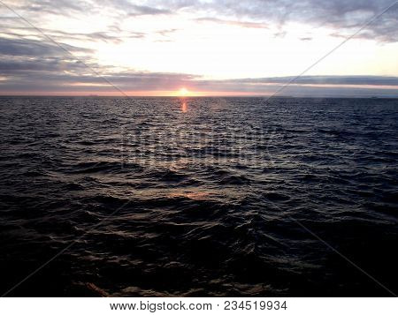 Sunset In The Bering Sea After The Storm