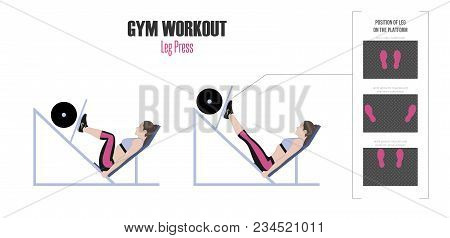 Sport Exercises. Exercises In A Gym. Leg Press. Positions Of Leg On The Platform. Woman Doing Exerci