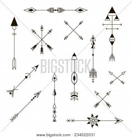 Set Of Decorative Arrows. Design Elements. Fashion Decorative Ornament. Hipster Vector Design Set.