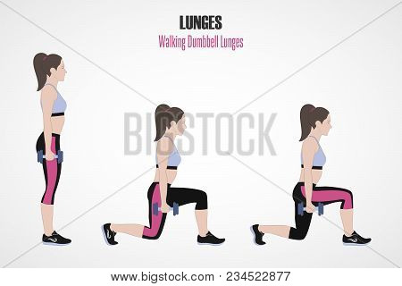 Sport Exercises. Exercises With Free Weight. Walking Dumbbell Lunges. Illustration Of An Active Life