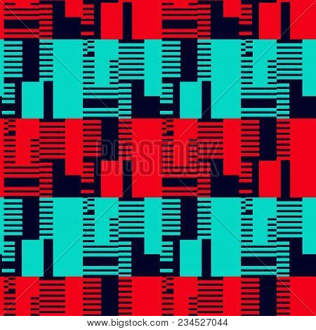 Abstract Displaced Seamless Pattern. Futuristic Design, Texture Background, Minimalism
