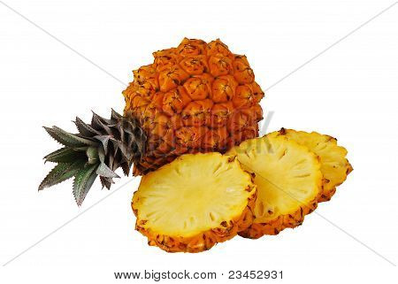 One Whole And One Sliced Fresh Pineapples